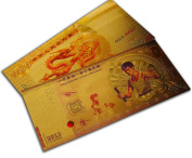 Special Legendary Rare Martial Arts Gift Bruce Lee & Chinese Dragon Gold Plated Banknote Set