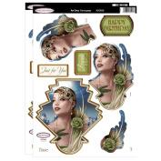 Debbi Moore Designs ~ Art Deco Decoupage ~ Lady In Green Die Cut Toppers & Birthday Sentiments