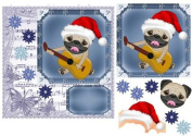 Christmas Pug with guitar card front by Sharon Poore