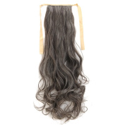 Drawstring Ponytail Extensions Tie Up Ponytail Clip in Hair Extensions Hairpiece Binding Pony Tail Extension Human Made Natural Synthetic Fibre Hair for Girl Lady Woman 60cm -curly 4A/613