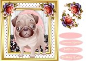 Adorable Pug in a Stitched frame by Ceredwyn Macrae