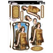 Debbi Moore Art Deco Flapper Lady & Gent Gold Die Cut Decoupage Toppers & Anniversary Sentiments