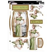 Debbi Moore Art Deco Lady Green & Cream Die Cut Toppers & Birthday Sentiments