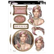 Debbi Moore Designs ~ Art Deco Lady Pink Die Cut Toppers & Birthday Sentiments