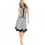 Snowfoller Summer Women V-Neck Sleeveless Evening Dress Fashion Button Design Polka Dot Print Party Dress