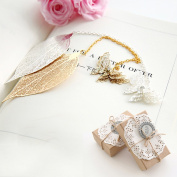 Metal Bookmark Set,Aolvo Leaf Bookmarks with Butterfly Bookmark Metal Brass Golden & Sliver ,With Beautiful Gift Box,Set of Two