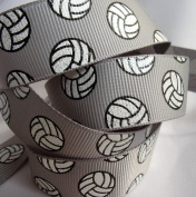 Grosgrain Ribbon - Grey Volleyball Print With Glitter Volleyballs - 2.2cm W, 10 Yards - DIY Team Hair Bows, Hair Ties, Crafts & Sewing!