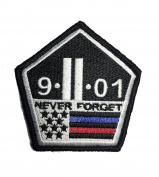 Thin Red and blue Line 9/11 Never Forget hook/loop Morale Patch 7.6cm x 8.9cm