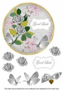 Silver Rose Good Luck 18cm Circle Decoupage Topper by Ann-marie Vaux
