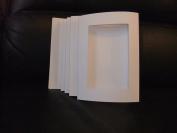 5 WHITE Linen Effect Oblong Aperture cards 20cm x 15cm with 5 White Envelopes
