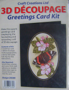 3D Decoupage Greetings Card Kit contains greetings card, envelope, 4 decoupage prints, 5 sticky fixer pads, & full instructions