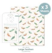 Craft Consortium Premium Decoupage Papers - Large Feathers