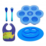 Silicone Baby Food Freezer Tray with Clip on Lid and silicone plate waterproof baby bib Heat sensing silicone spoon and fork - Vegetable, Fruit purees,Milk and Ice Cubes - BPA Free & FDA