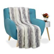 Relaxdays Faux Fur Blanket Throw, XXL Bedspread, Fluffy Blankie, W x L app. 150 x 200 cm, White-Grey