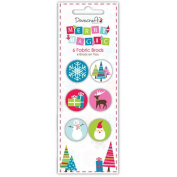 "Dovecraft ""Merry Magic' Modern Christmas Craft Collection - 6pcs Fabric Brads"