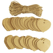 EDGEAM 100PCS Kraft Gift Tag Label with Jute Rope for Christmas Wedding Birthday Party Decor
