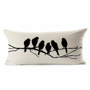 Removable Birds Printed Cotton Linen Trimming Sofa Bed Pillow Cushion Cover 30x50cm