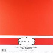 Carta Bella Paper Scarlet Red Felt Cardstock 36kg. Cover, 30cm x 30cm