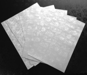 50 x A4 Dandy White Tapestry Broderie Paper Pearlescent Floral Embossed Shimmer Decorative Paper 120gsm