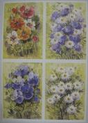 10 x A4 120gsm Watercolour Daisy Petunia Flower Print Card Toppers AM541