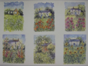 10 x A4 120gsm Watercolour Cottage Garden Prints Card Toppers for Cardmaking AM539