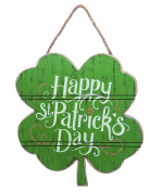 Happy St. Patrick's Day 12 x 12 Green Shamrock Shape Hanging Wall Sign Plaque