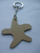 MDF Wooden Keyring For Decoration - Starfish Shaped