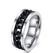 YUUHII ATR Titanium Steel Black Rotating Chain Rings Jewellery Rings ,Size 6-15