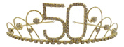 Pick A Gem Hair Accessories 18ct Gold Plated Diamante Crystal 50th Birthday Tiara Crown / Happy 50th Birthday 50th Birthday Gift Idea
