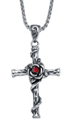 Stainless Steel Red CZ Rose Flower Wrapped Cross Pendant Necklace with 2.5mm Round Link Chain G2009BX5