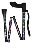 Spotty Anatomical Folding Walking Stick – Right hand