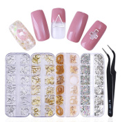 NICOLE DIARY Multi-size 12 Grids Colourful Nail Art Decoration Set with 4 Boxes Nail Rhinestones Gems Metal Nail Rivets Studs and 1 Pc Pick up Tweezer