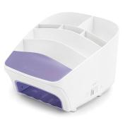 Polder STO-8020-270 Nail Station UV Light, Fan Dryer, and Storage Unit, 18cm x 23cm x 13cm , White/Purple