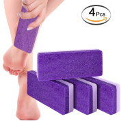 Pumice Stone Sponge Block 4 Pack by Bysiter Premium Foot File and Scrubber 2 in 1 Callus Remover for Feet Hands and Body , Perfect Pedicure Beauty Tools for Exfoliation to Remove Dead Skin
