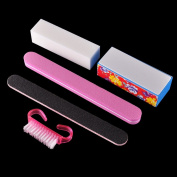 AKOAK 5 Pcs/set Nail Art Buffer File Block Professional Manicure Tools Kit Rectangular Nail Files Brush Nail Art Tools