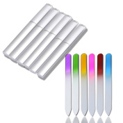 Crystal Glass Nail File Set 6pcs Fashion Durable Nail Art Manicure Device Tool File for Women Girl Professional Polishing