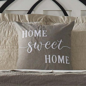 Home Sweet Home Pillow Cover, 50cm x 50cm , Farmhouse Style Accent Pillow with Embroidered Lettering