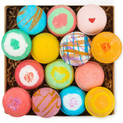 14 Bath Bombs by HanZá Gift Set - 100ml USA Handmade Lush Fizzies, Shea & Cocoa Butter, Add to Bubble Bat, Pearls and Flakes, Spa, Tub Tea. Mothers Day Gift Idea For Her, Wife, Women, Teen Girls