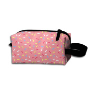 Create Magic - Pink Sweet Donut Doughnut Small Carrying Storage Pouch Case Bags Waterproof Multi-purpose Storage Tote Tools Pouches Cosmetic Bags With Zipper And Hanging Loop