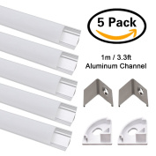 Jirvyuk 5 pack 1m/3.3ft V-Shape LED Aluminium Channel for LED strip Lights with Milky White Cover,End Caps and Metal Mounting Clips