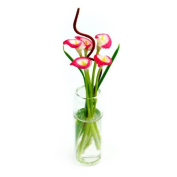 MyTinyWorld 5 Miniature Pink And White Calla Lilies in a Glass Vase
