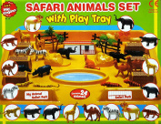 Safari Animals Set with Play tray - Contains 24 animals Tray size:40x30cm
