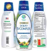 Premium Liquid B Complex Vitamin- Fast Absorbing Liquid B-Complex Supplement w/ all 8 B-vitamins, PLUS energising herbal blend w/ Ginseng, Ginkgo, and Eleuthero Root - Vegan, NON-GMO - 470ml, 32 Serv