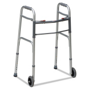 BGH 80210450600 Two-Button Release Folding Walker with Wheels, Silver/Grey, Aluminium, 80cm - 100cm H