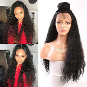 Fureya Hair Loose Curly Glueless Synthetic Lace Front Wigs for Women Heat Resistant Fibre with Baby Hair 60cm Natural Black Lace Wigs
