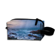 Create Magic - Ocean Wave Student Pen Pencil Case Waterproof Multi-purpose Storage Tote Tools Bag Cosmetic Bags With Zipper And Hanging Loop