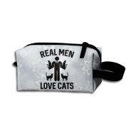 Create Magic - Real Men Love Cats Small Carrying Storage Pouch Case Bags Waterproof Multi-purpose Storage Tote Tools Pouches Cosmetic Bags With Zipper And Hanging Loop
