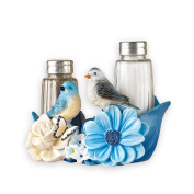 Blue Bird Flower Garden Decorative Kitchen Salt & Pepper Set