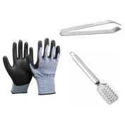 Kitchen Set Includes Stainless Steel Fish Scale Remover Cleaner Peeler, Fish Bone Remover Pliers Tweezer and Soft Cut & Punctures Resistant Gloves