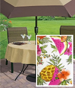 Pineapple Tropical Floral Print Vinyl Flannel Backed Tablecloth, Indoor/Outdoor Tablecloth for Picnic, Barbeque, Patio and Kitchen Dining,